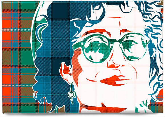 Eddi Reader on Rattray ancient tartan – magnet - Indy Prints by Stewart Bremner