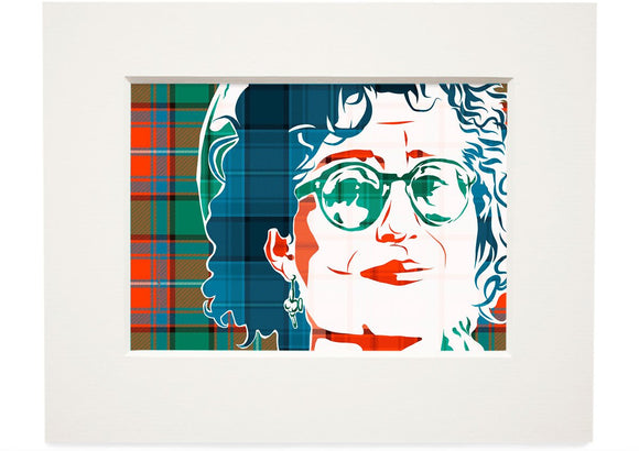 Eddi Reader on Rattray ancient tartan – small mounted print - Indy Prints by Stewart Bremner