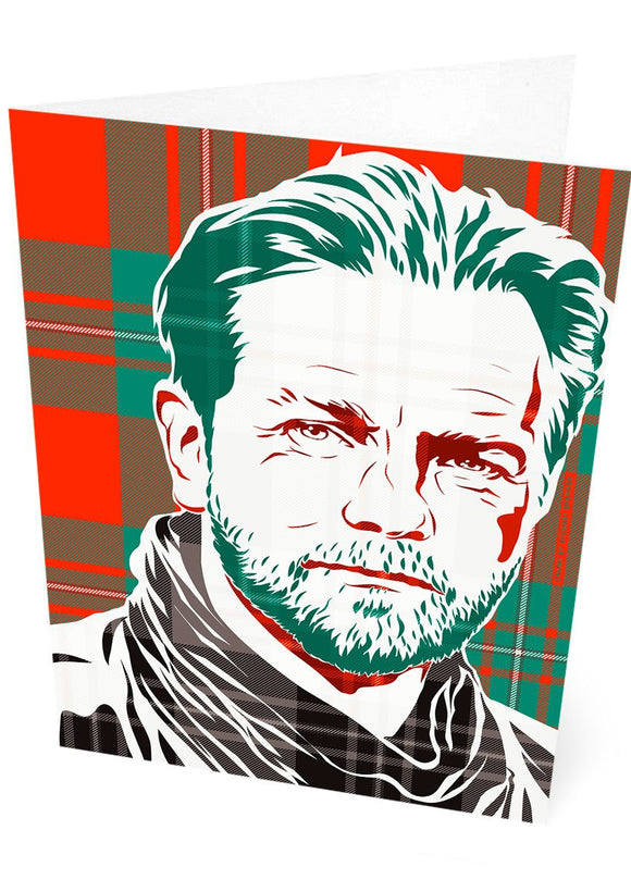 Ewan McGregor on MacGregor ancient tartan – card - Indy Prints by Stewart Bremner