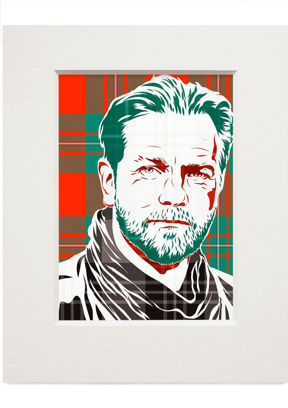 Ewan McGregor on MacGregor ancient tartan – small mounted print - Indy Prints by Stewart Bremner
