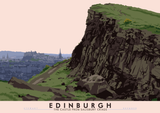 Edinburgh: the Castle from Salisbury Crags – giclée print - natural - Indy Prints by Stewart Bremner