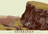 Edinburgh: the Castle from Salisbury Crags – poster - green - Indy Prints by Stewart Bremner