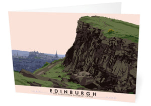 Edinburgh: the Castle from Salisbury Crags – card