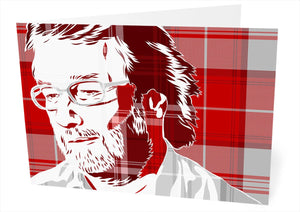 Iain M Banks on Menzies tartan – card - Indy Prints by Stewart Bremner
