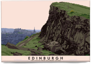 Edinburgh: the Castle from Salisbury Crags – magnet - Indy Prints by Stewart Bremner