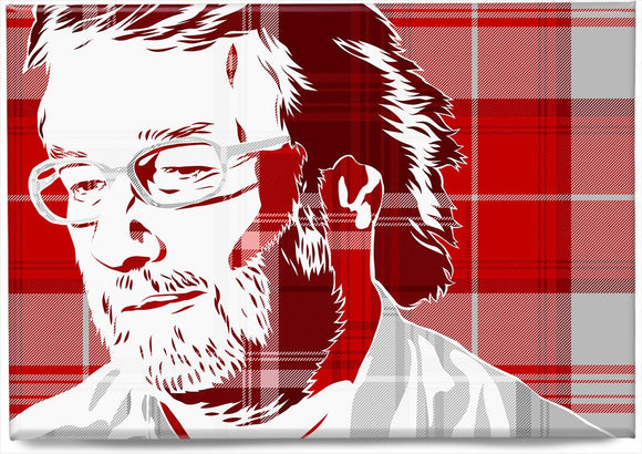 Iain M Banks on Menzies tartan – magnet - Indy Prints by Stewart Bremner