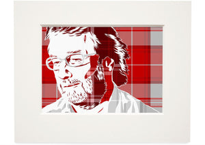 Iain M Banks on Menzies tartan – small mounted print - Indy Prints by Stewart Bremner