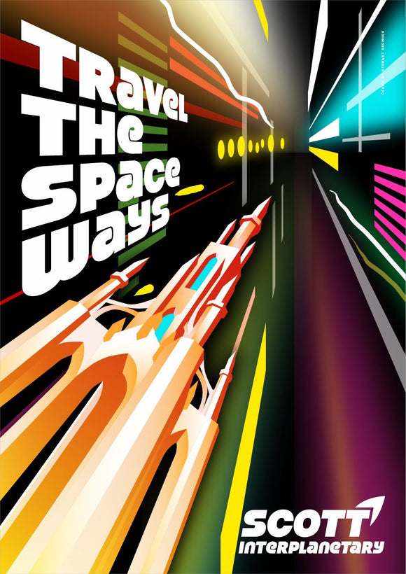 Travel the space ways – poster - Indy Prints by Stewart Bremner