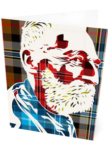 John Byrne on Campbell hunting tartan – card - Indy Prints by Stewart Bremner