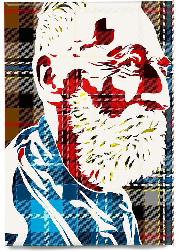 John Byrne on Campbell hunting tartan – magnet - Indy Prints by Stewart Bremner