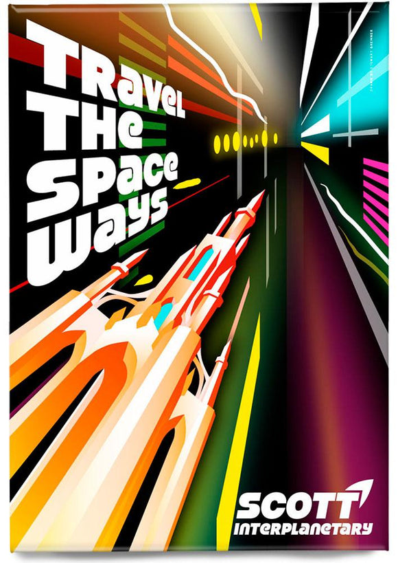 Travel the space ways – magnet - Indy Prints by Stewart Bremner