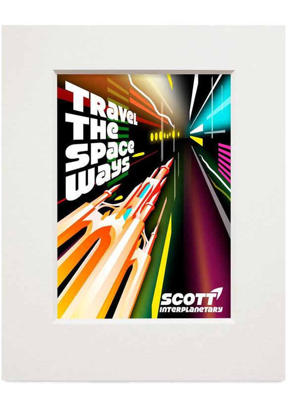 Travel the space ways – small mounted print - Indy Prints by Stewart Bremner