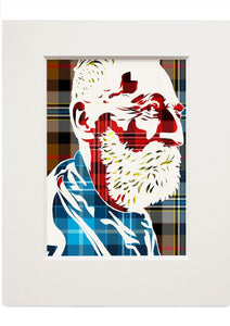 John Byrne on Campbell hunting tartan – small mounted print - Indy Prints by Stewart Bremner