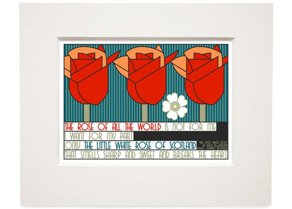 The little white rose of Scotland – small mounted print - Indy Prints by Stewart Bremner