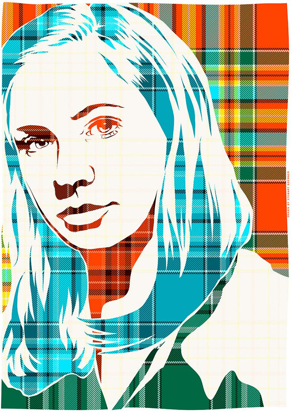 Karen Gillan on Chattan ancient tartan – giclée print - Indy Prints by Stewart Bremner