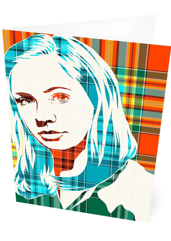 Karen Gillan on Chattan ancient tartan – card - Indy Prints by Stewart Bremner