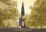Edinburgh: Scott Monument – poster - yellow - Indy Prints by Stewart Bremner