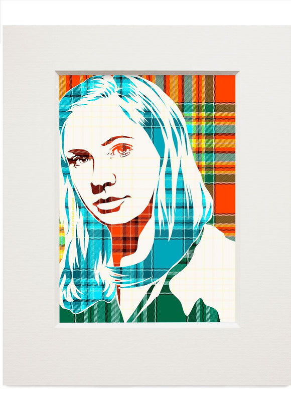Karen Gillan on Chattan ancient tartan – small mounted print - Indy Prints by Stewart Bremner