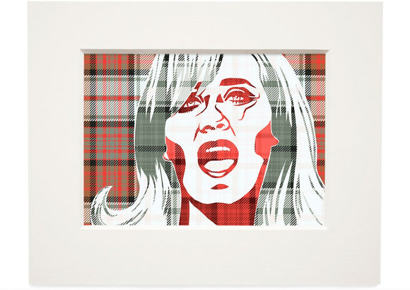 Lulu on MacDonald dress weathered tartan – small mounted print - Indy Prints by Stewart Bremner