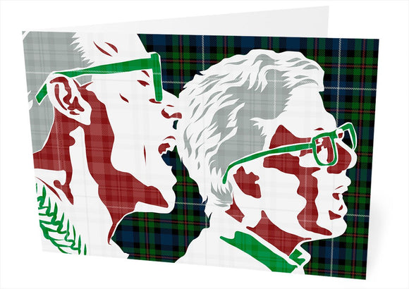 The Proclaimers on Robertson hunting ancient tartan – card - Indy Prints by Stewart Bremner