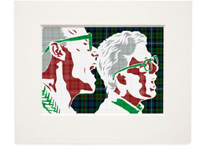 The Proclaimers on Robertson hunting ancient tartan – small mounted print - Indy Prints by Stewart Bremner