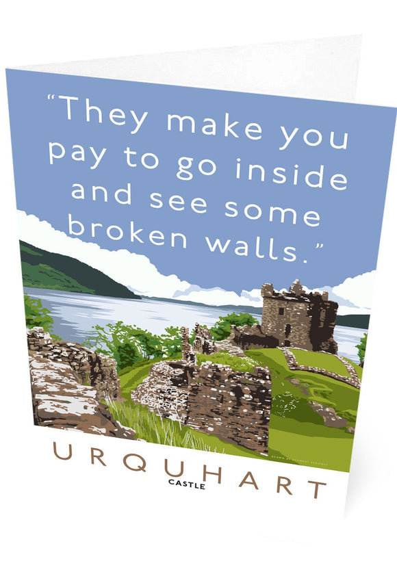 The broken walls of Urquhart Castle – card