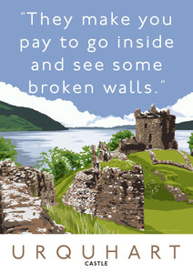 The broken walls of Urquhart Castle – giclée print