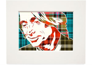 Robert Carlyle on Bruce of Kinnaird ancient tartan – small mounted print - Indy Prints by Stewart Bremner