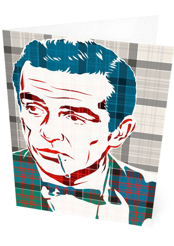 Sean Connery on MacDonald of Clanranald ancient tartan – card - Indy Prints by Stewart Bremner