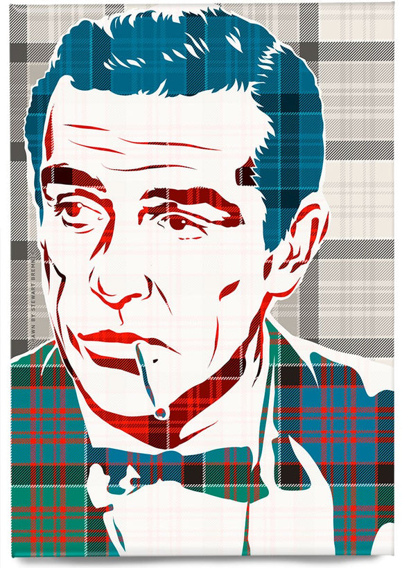 Sean Connery on MacDonald of Clanranald ancient tartan – magnet - Indy Prints by Stewart Bremner