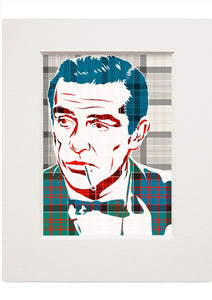 Sean Connery on MacDonald of Clanranald ancient tartan – small mounted print - Indy Prints by Stewart Bremner