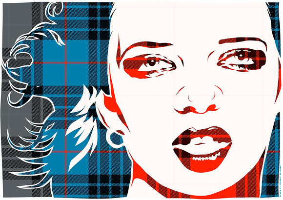 Shirley Manson on MacKay blue ancient tartan – poster - Indy Prints by Stewart Bremner