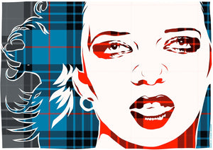 Shirley Manson on MacKay blue ancient tartan – giclée print - Indy Prints by Stewart Bremner