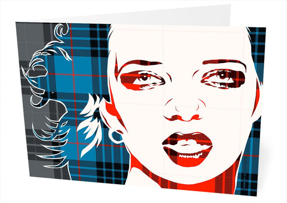 Shirley Manson on MacKay blue ancient tartan – card - Indy Prints by Stewart Bremner