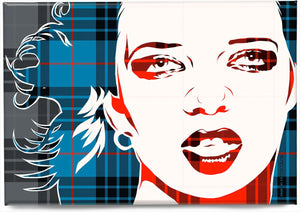 Shirley Manson on MacKay blue ancient tartan – magnet - Indy Prints by Stewart Bremner
