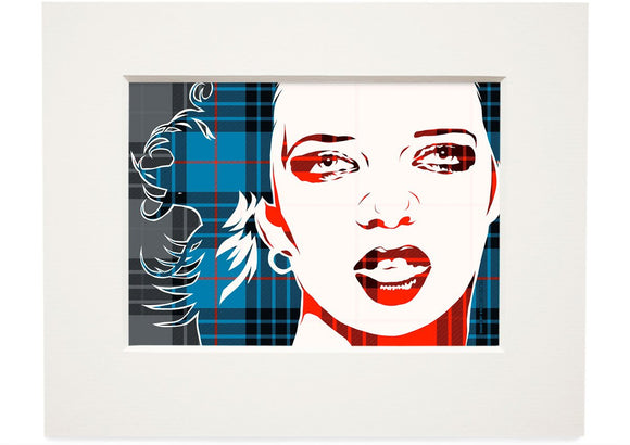 Shirley Manson on MacKay blue ancient tartan – small mounted print - Indy Prints by Stewart Bremner