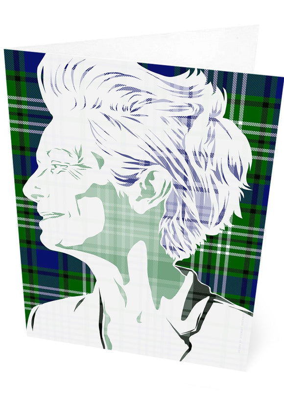 Tilda Swinton on Swinton tartan – card - Indy Prints by Stewart Bremner