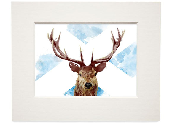 The Scottish stag – small mounted print - Indy Prints by Stewart Bremner