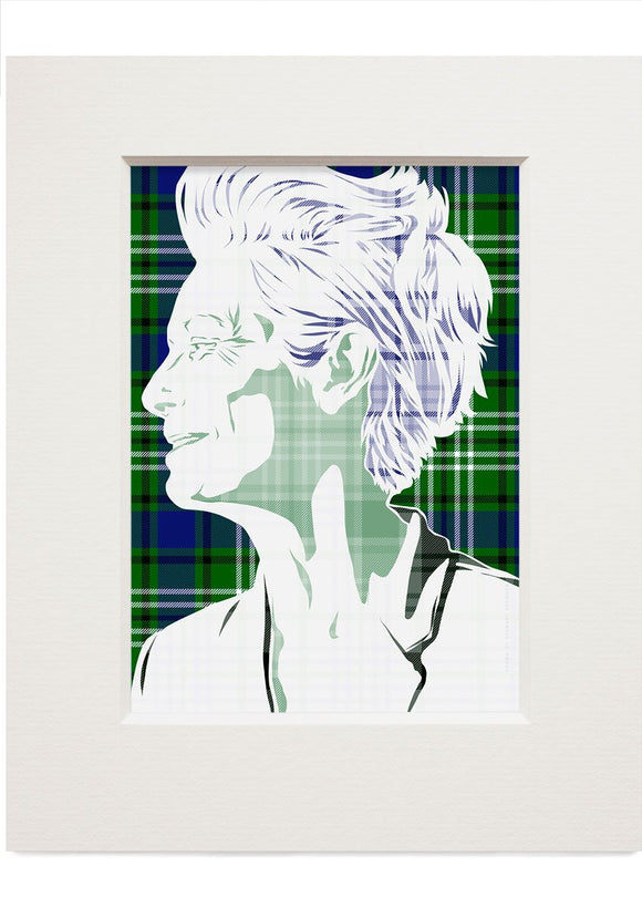 Tilda Swinton on Swinton tartan – small mounted print - Indy Prints by Stewart Bremner