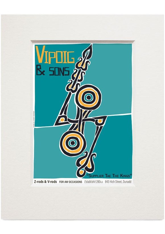 Vipoig & Sons, Z-rod makers – small mounted print - Indy Prints by Stewart Bremner