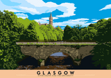 Glasgow: River Kelvin & the University – poster - natural - Indy Prints by Stewart Bremner