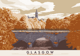 Glasgow: River Kelvin & the University – poster - rust - Indy Prints by Stewart Bremner