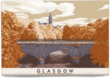 Glasgow: River Kelvin & the University – magnet - rust - Indy Prints by Stewart Bremner