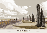 Orkney: Ring of Brodgar – poster - grey - Indy Prints by Stewart Bremner