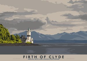 Firth of Clyde: Arran, Bute and Cloch Lighthouse – giclée print - Indy Prints by Stewart Bremner
