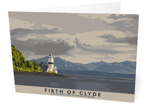 Firth of Clyde: Arran, Bute and Cloch Lighthouse – card - Indy Prints by Stewart Bremner