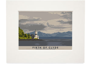 Firth of Clyde: Arran, Bute and Cloch Lighthouse – small mounted print