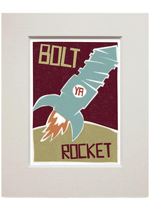 Bolt ya rocket – small mounted print - Indy Prints by Stewart Bremner