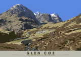 Glen Coe: the Three Sisters and the Old Road – poster - natural - Indy Prints by Stewart Bremner