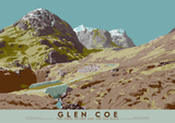 Glen Coe: the Three Sisters and the Old Road – poster - blue - Indy Prints by Stewart Bremner